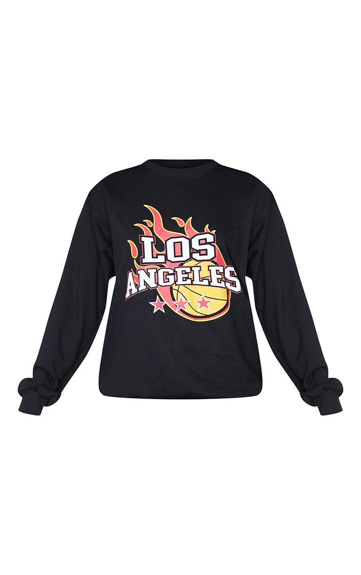 Black Los Angeles Basketball Printed Sweatshirt 5