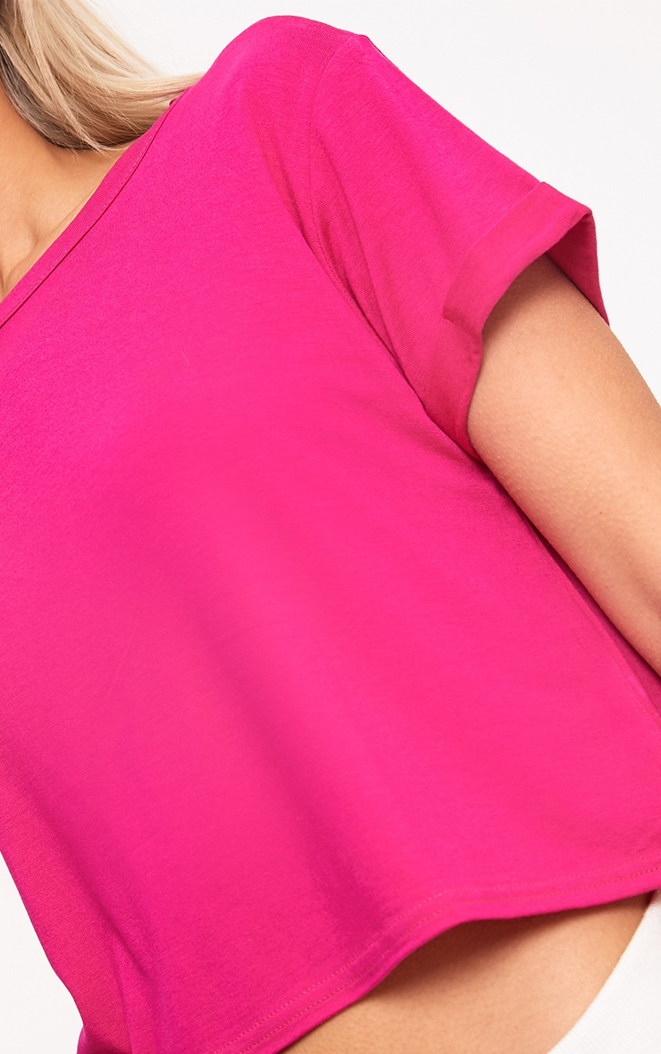 Basic Hot Pink Roll Sleeve Crop T Shirt 5