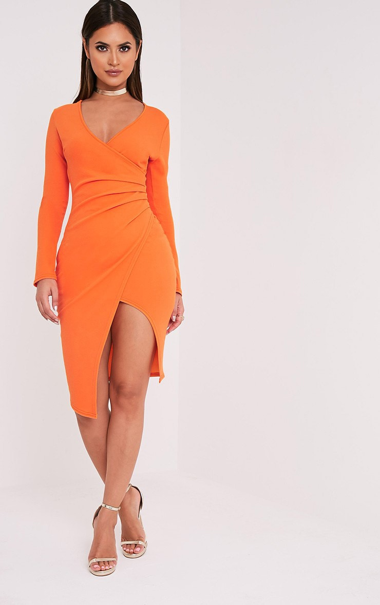 Rosie Orange Long Sleeve Wrap Front Midi Dress 1
