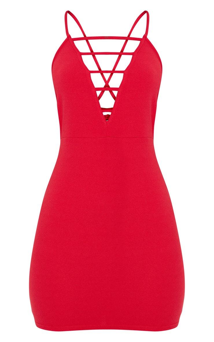 Red Strappy Ladder Detail Plunge Bodycon Dress 3