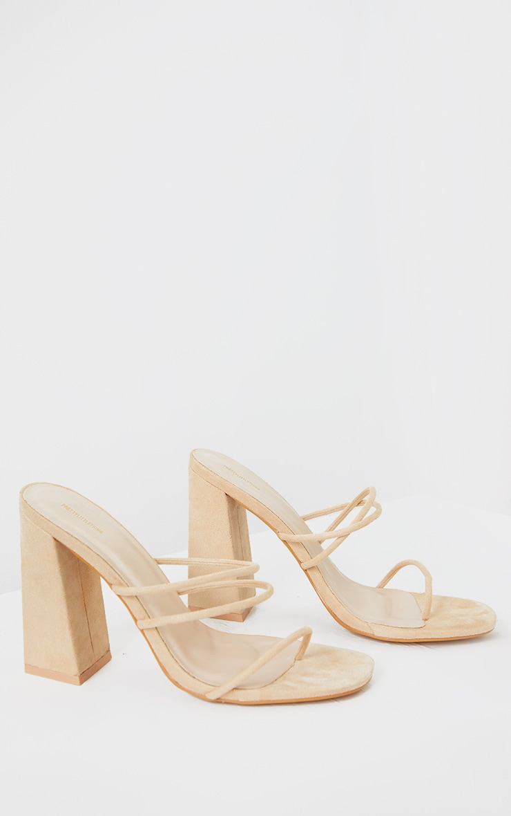Nude Thin Triple Tube Strap Toe Loop Block Heel Mule 4