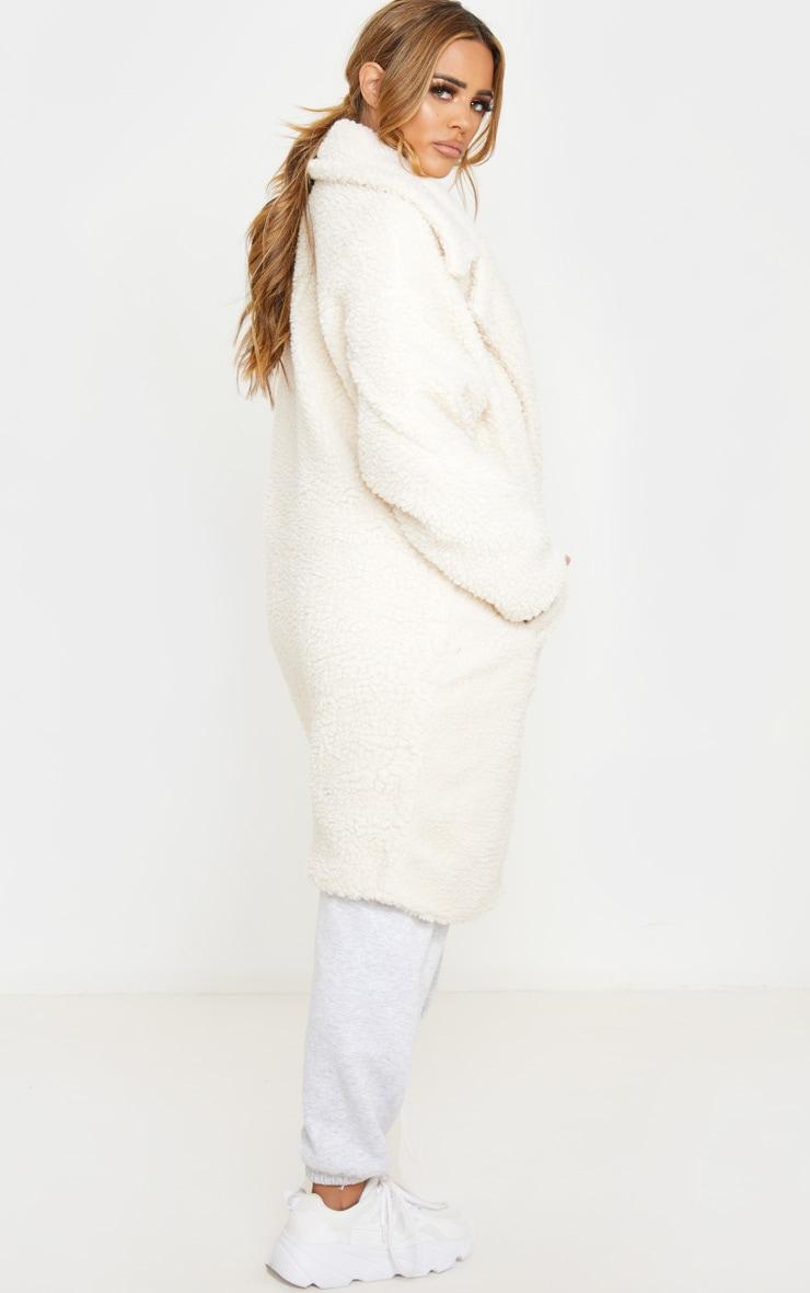 Petite Cream Borg Oversized Coat 2