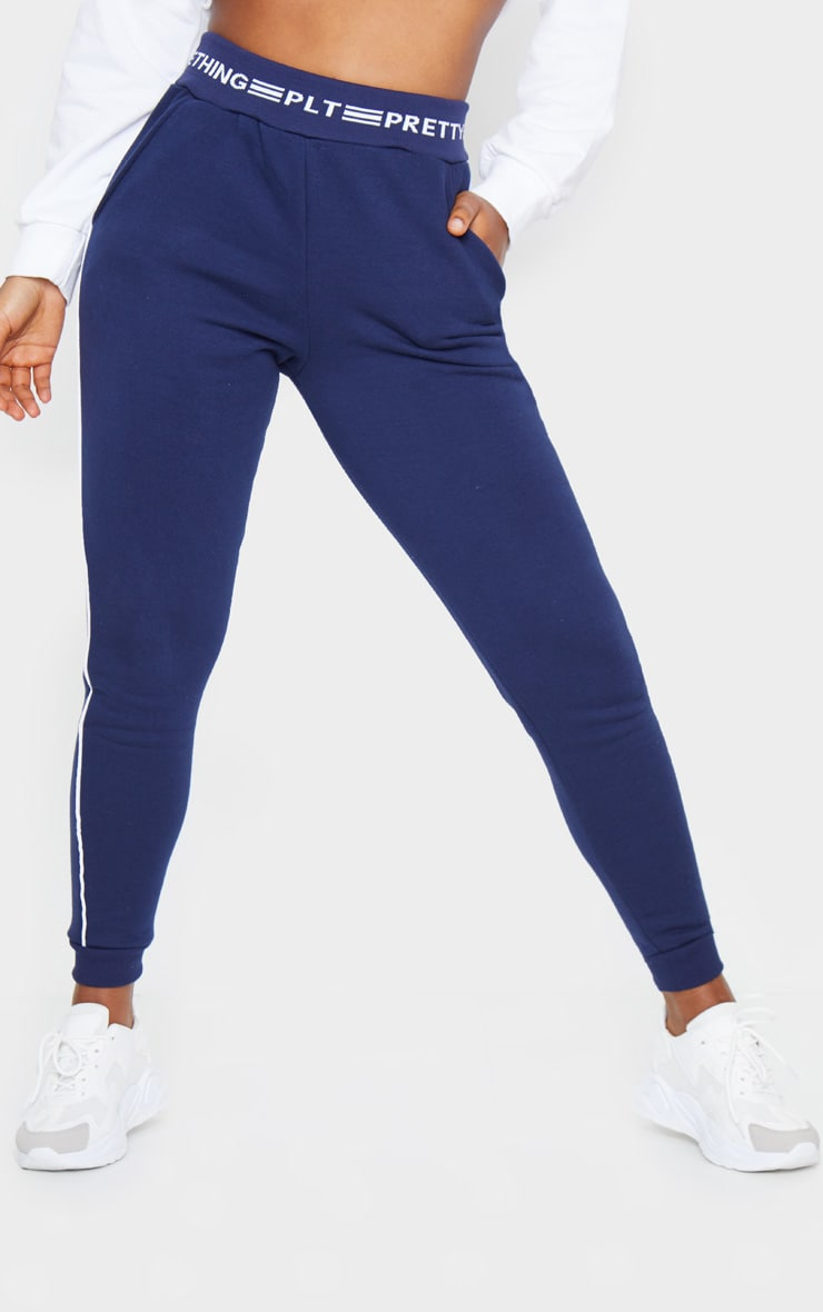 PRETTYLITTLETHING Navy Contrast Piping Cuff Joggers 2