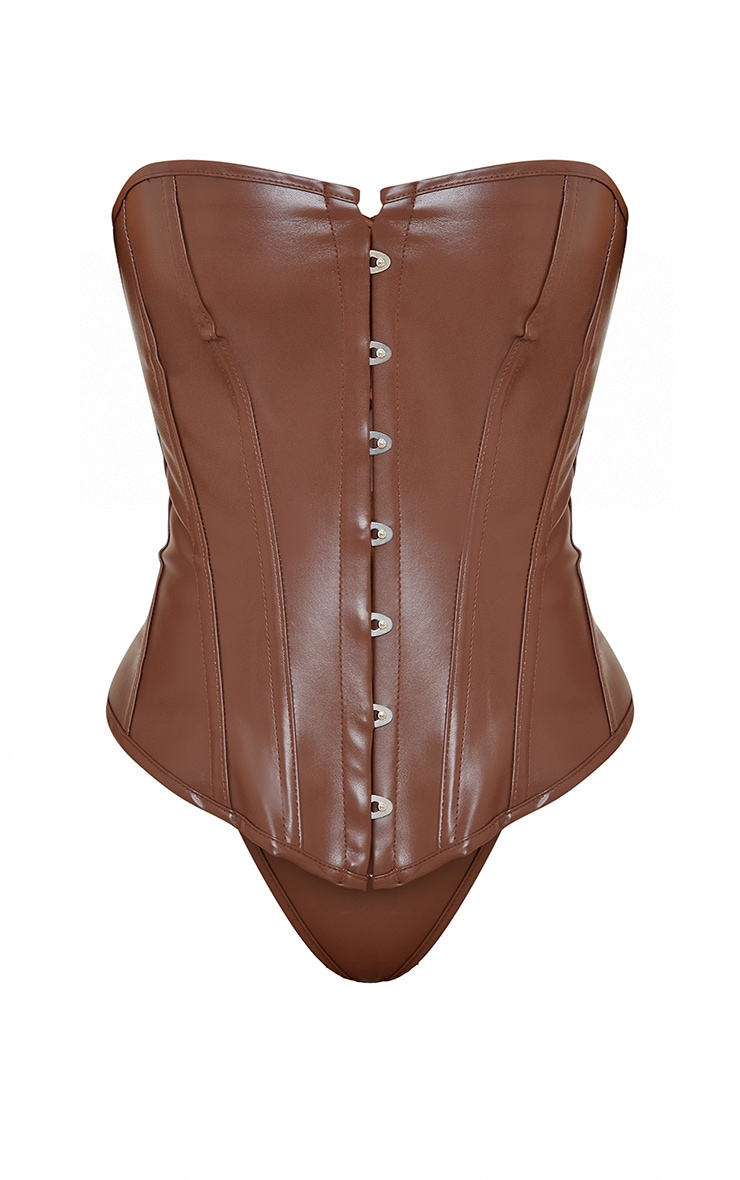 Chocolate Faux Leather Hook Front Corset Set 5