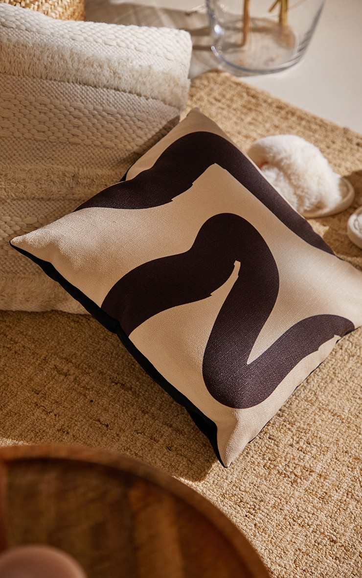 Charcoal Lines Filled Cushion  2
