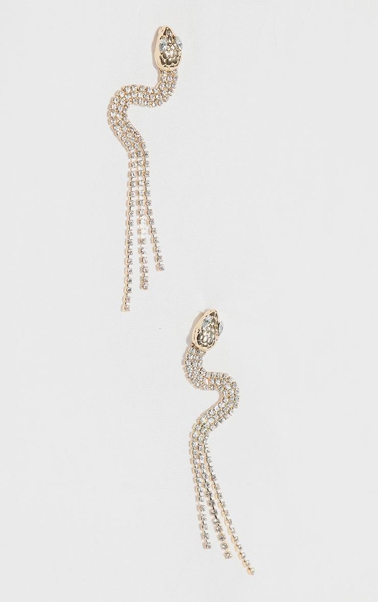 Gold Diamante Snake Tassel Earrings 1