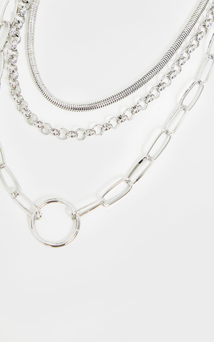 Silver Assorted Chain Layering Necklace 4