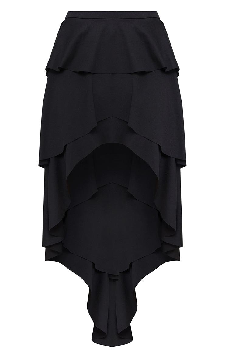 Black Hi Lo Tiered Maxi Skirt 3