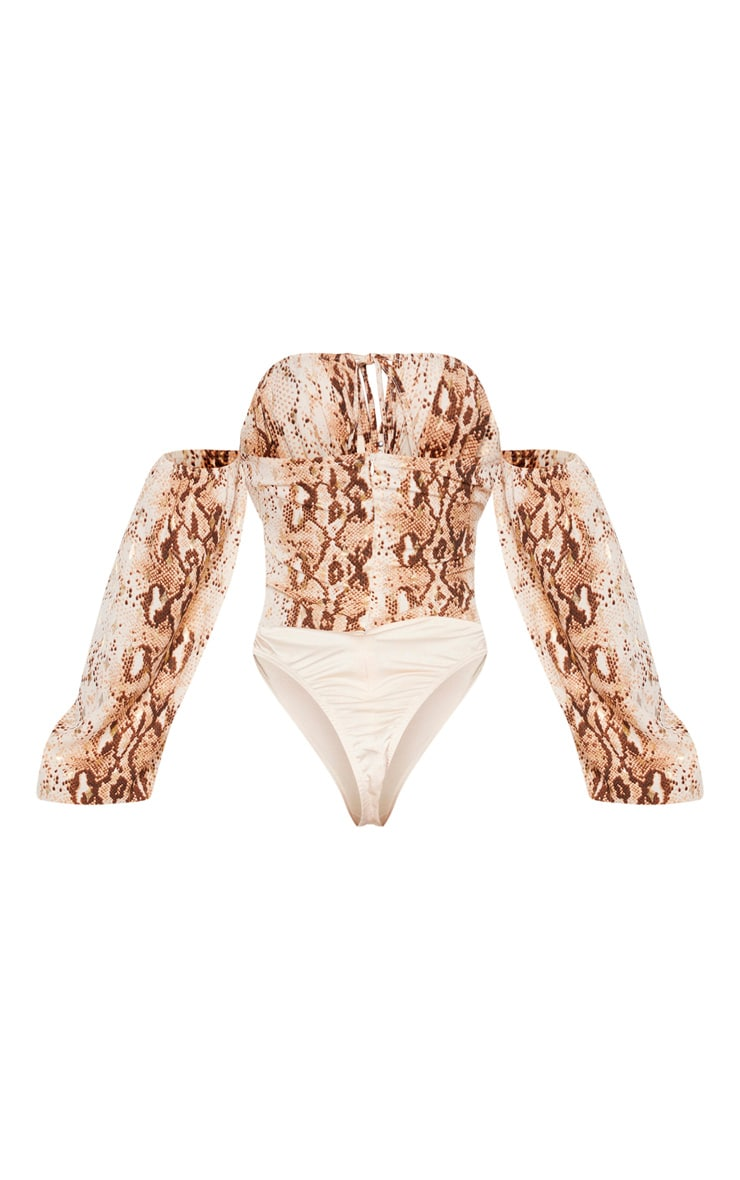Brown Snake Hook and Eye Bardot Long Sleeve Bodysuit 6