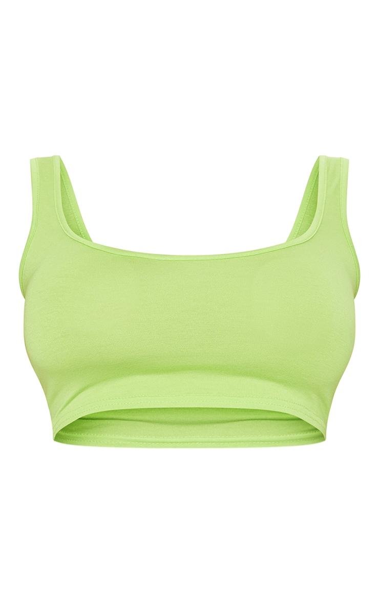 Neon Lime Basic Scoop Neck Crop Top 3