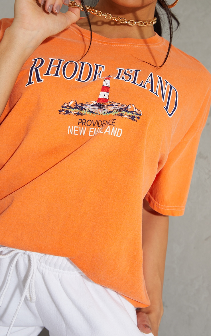 Orange Rhode Island Washed Printed T Shirt 4