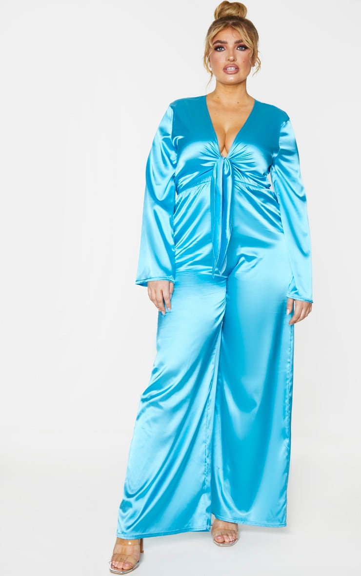 Plus Aqua Satin Tie Front Wide Leg Jumpsuit 1