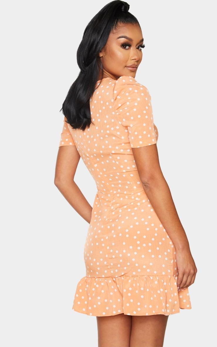 Orange Polka Dot Cut Out Ruched Bodycon Dress 2