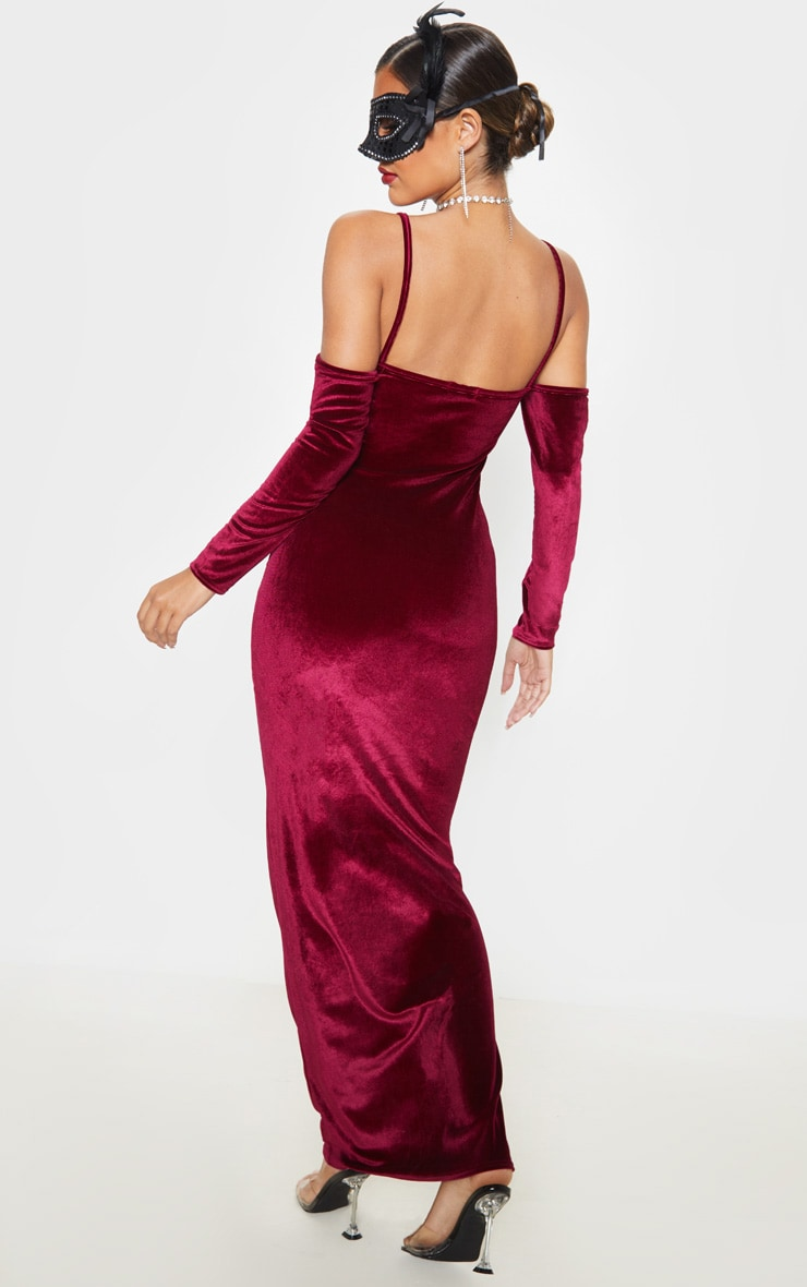 Burgundy Metallic Velvet Bardot Maxi Dress 2