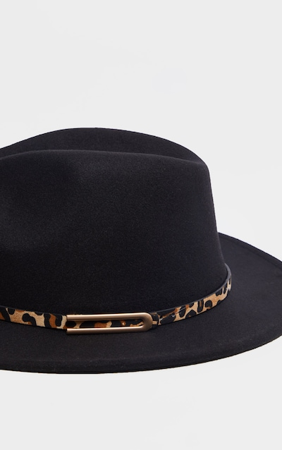 Black Leopard Trim Fedora Hat