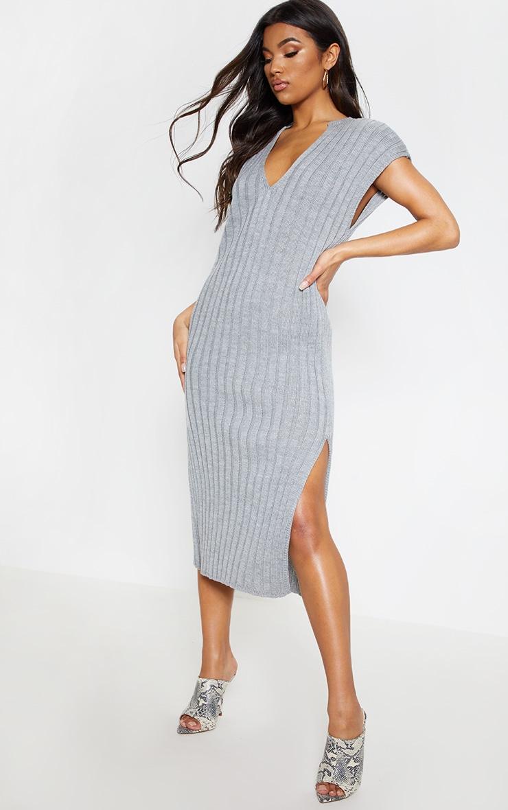 Grey Ribbed V Neck Midi Knitted Dress 1
