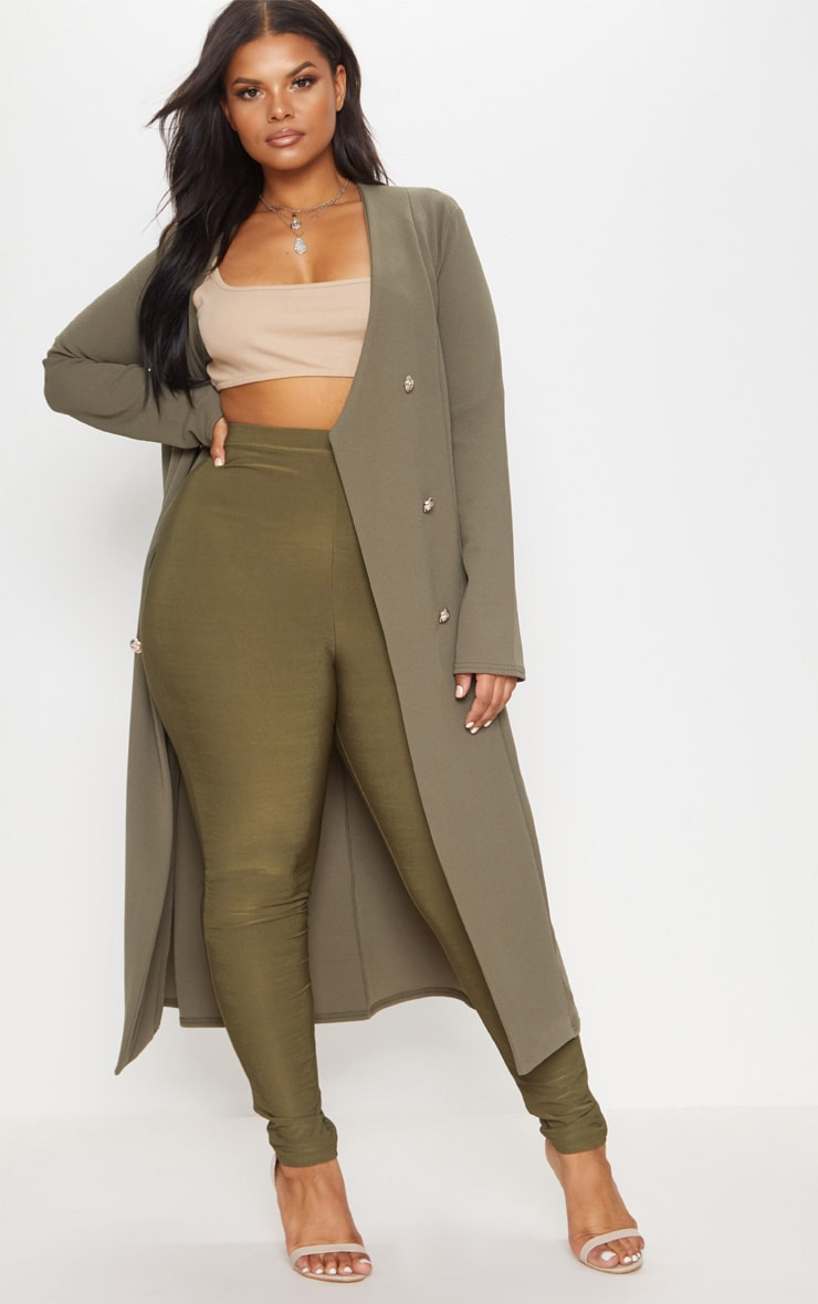 Plus Khaki Military Button Detail Duster Coat 1