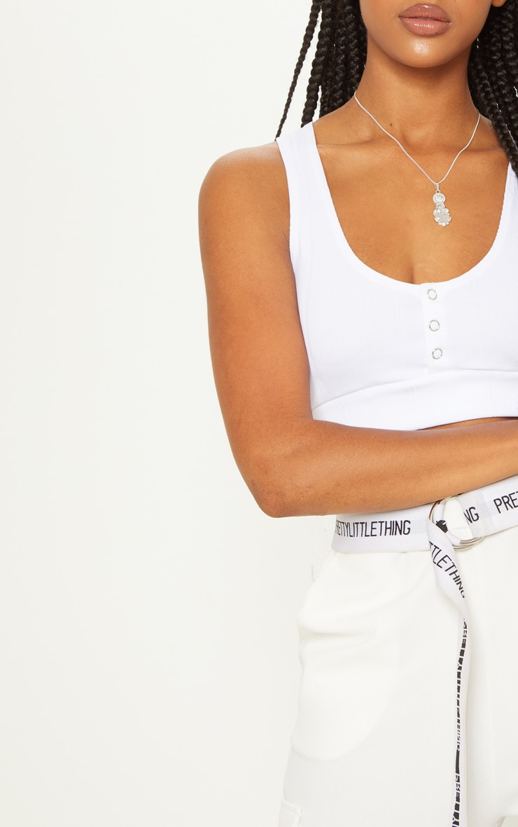 White Bandage Popper Racerback Crop Top 5