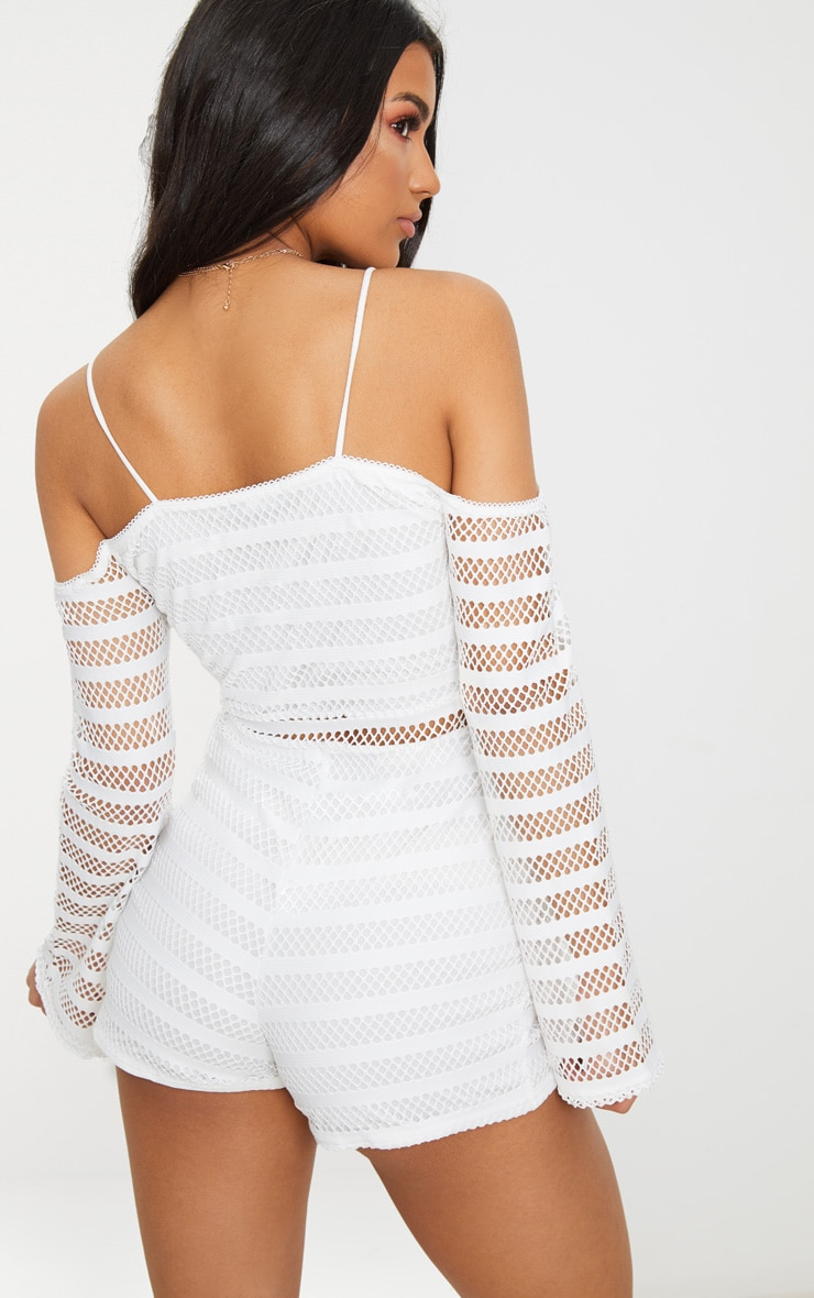White Knitted Cold Shoulder Romper 2