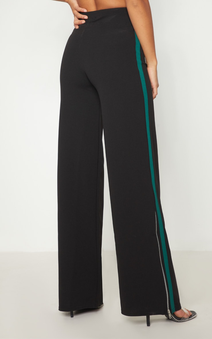 Petite - Pantalon évasé noir à fermeture éclair et bande latérales 4