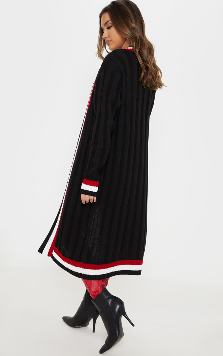 Black Striped Detailed Ribbed Maxi Cardigan  2
