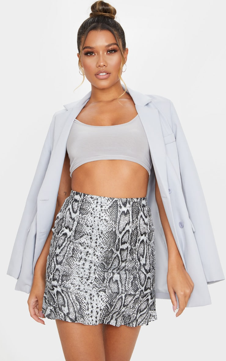 Grey Snake Jacquard Flippy Hem Mini Skirt 4