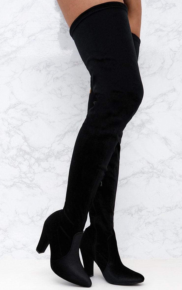 Black Velvet Thigh High Heeled Boot