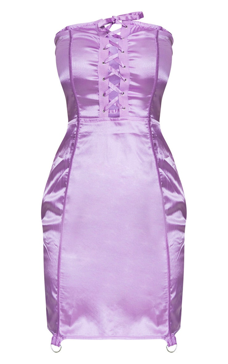 Lilac Satin Lace Up Detail Bandeau Bodycon Dress 3