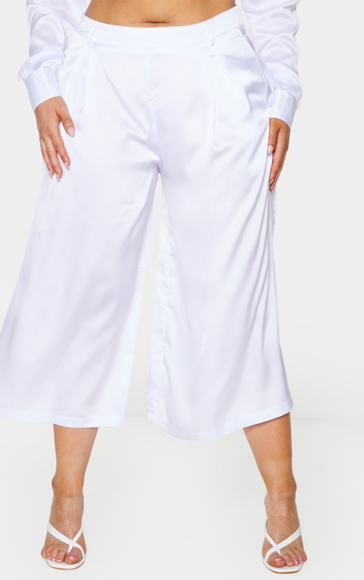 Plus White Satin Culottes 2