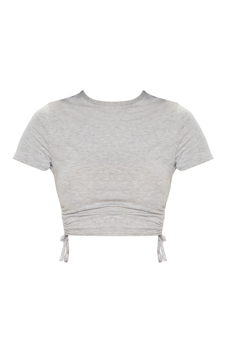 Grey Jersey Ruched Side Crop T Shirt 3