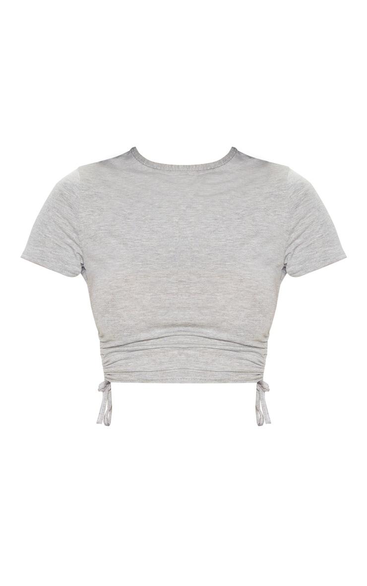 Crop top en jersey gris froncé sur le côté 3