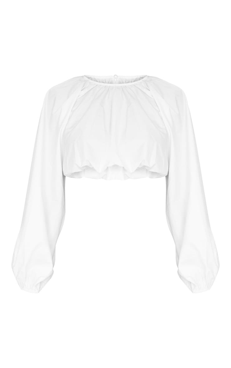 Tall White Balloon Sleeve Cropped Blouse 4