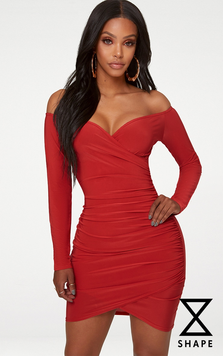 Shape Red Slinky Ruched Detail Bardot Dress 1