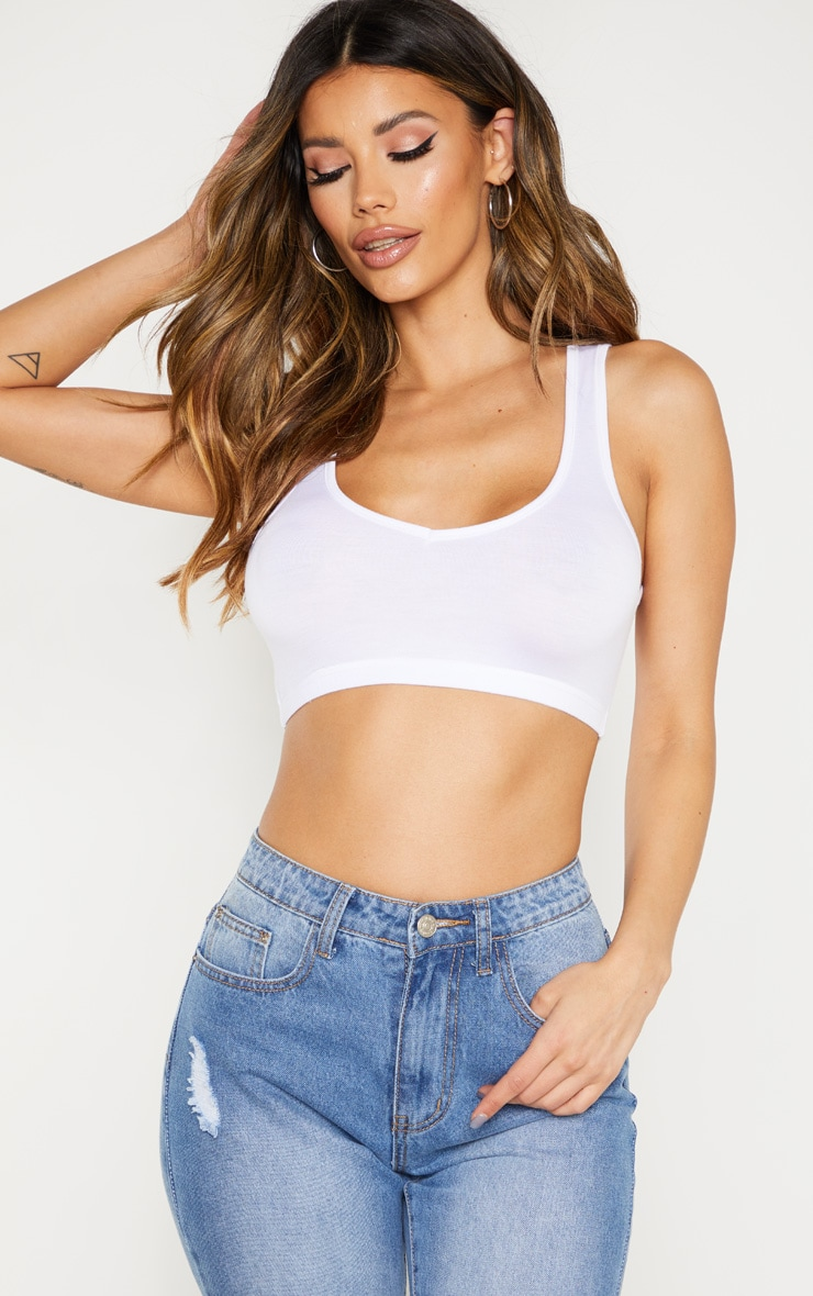 Basic White Sleeveless Elastic Hem Crop Top 1
