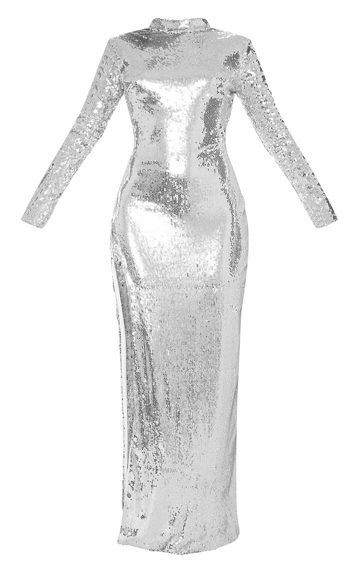 Silver Sequin Backless Maxi Dress 4