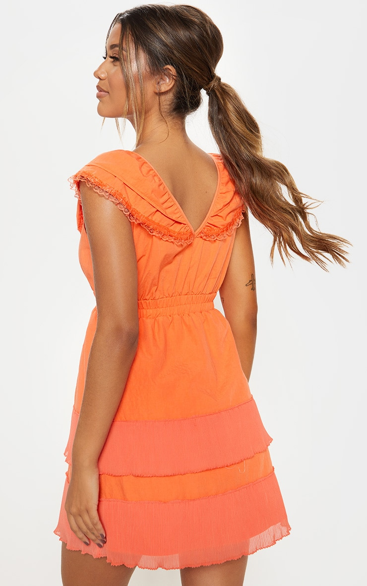 Bright Orange Tiered Ruffle Shift Dress 2