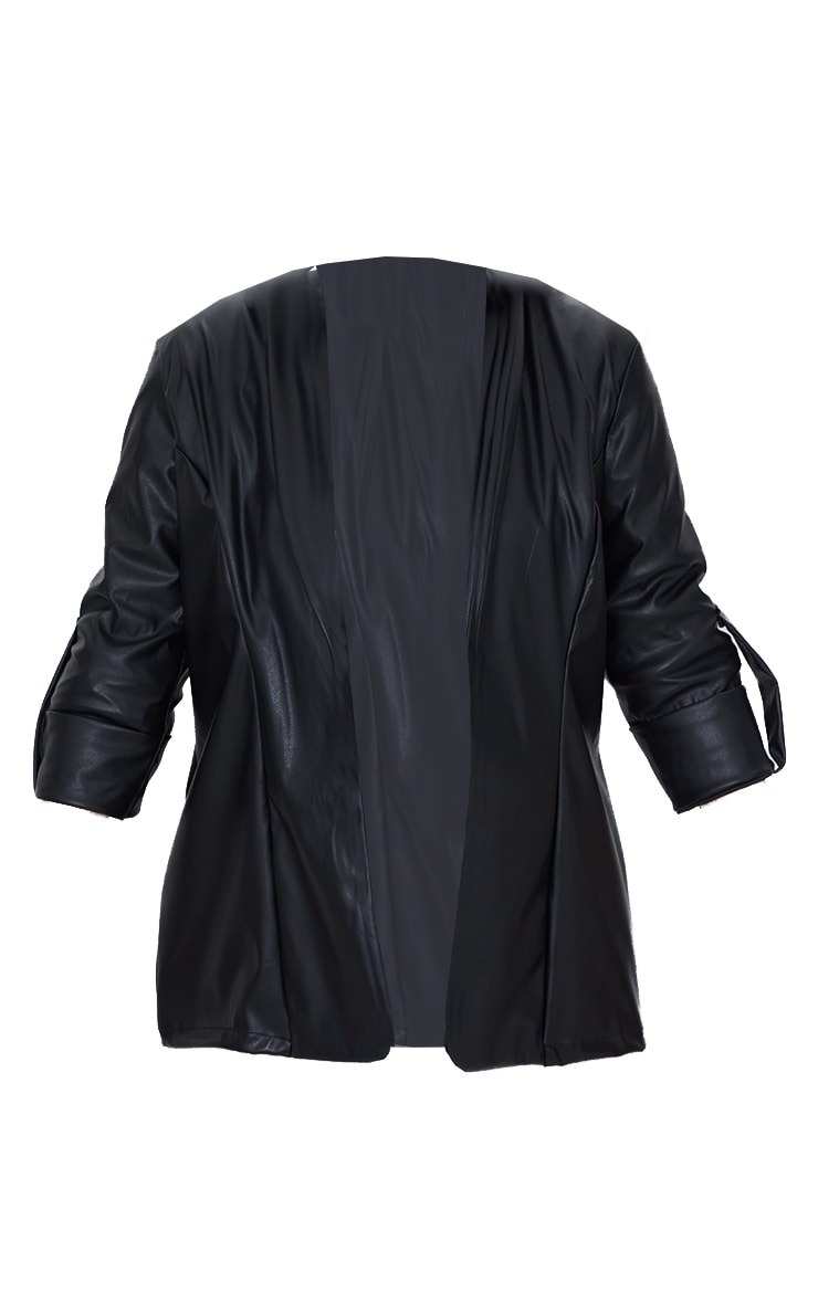 Black PU Turn Up Sleeve Blazer 5