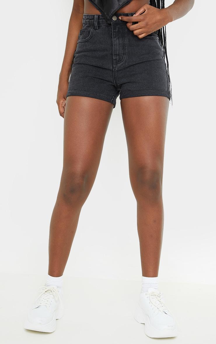 Tall Black Wash Turn Up Denim Mom Shorts 2