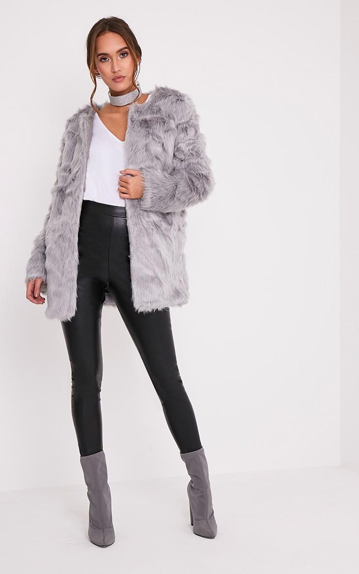 Florencia manteau en fausse fourrure gris 5