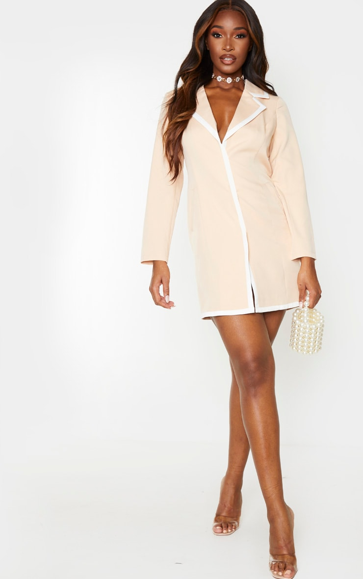 Nude Contrast Lapel Detail Blazer Dress 5