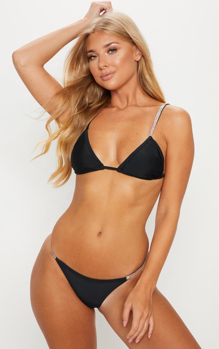 Black Diamante Strap Bikini Top
