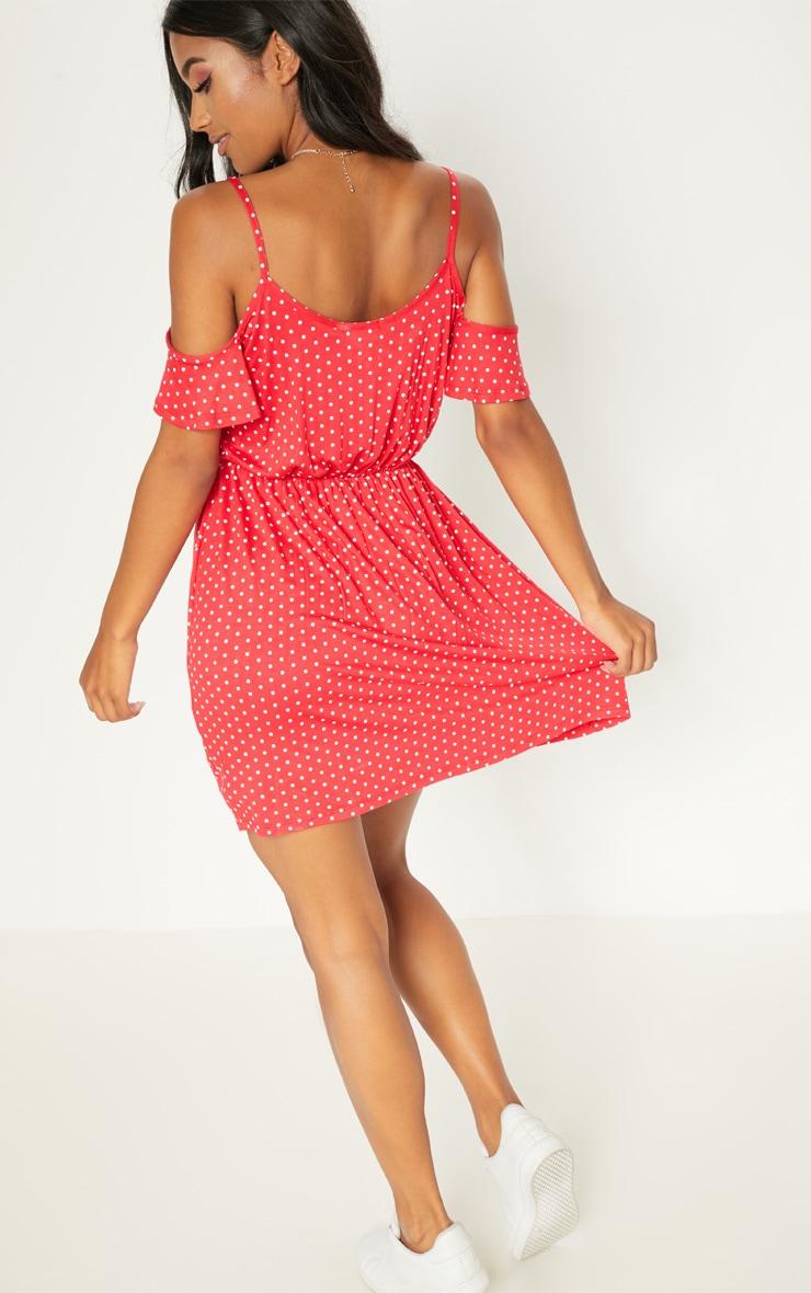 Red Polka Dot Frill Strappy Swing Dress 2