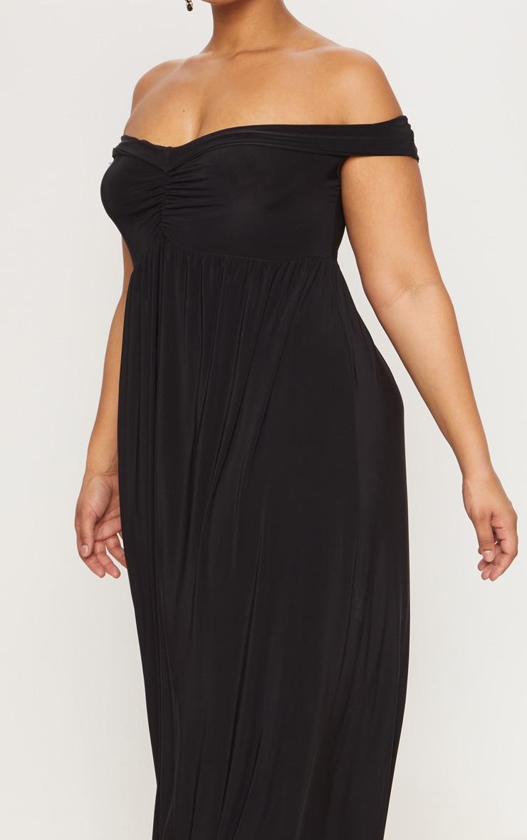 Plus Black Off The Shoulder Slinky Maxi Dress 5