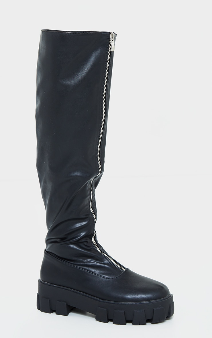 Black Extreme Cleated Chunky Sole Zip Up Over The Knee Boots 3