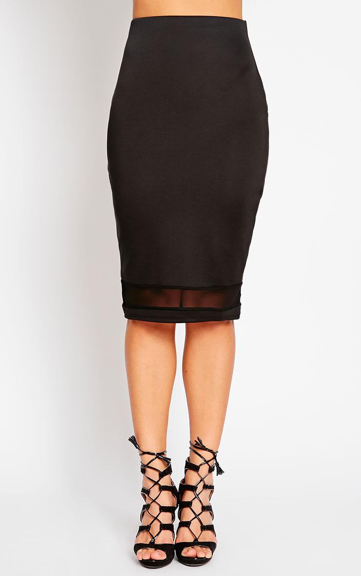 Tameka Black Scuba Mesh Midi Skirt 2