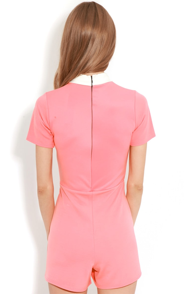 Dylon Coral Playsuit With White Collar 2