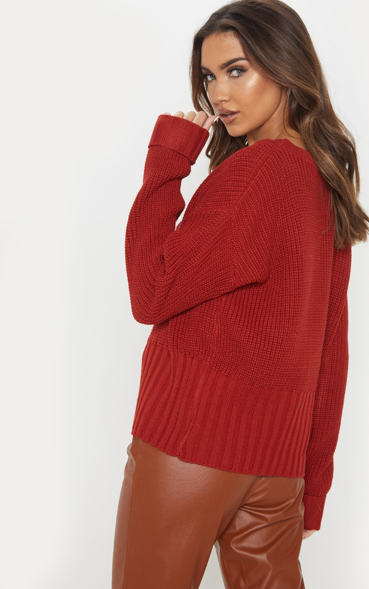 Rust Ribbed Hem Knitted Sweater  2