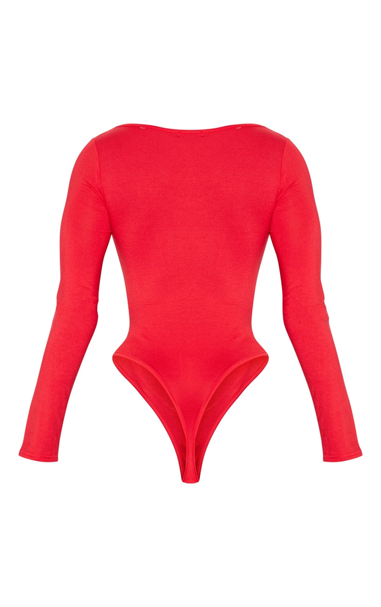 Red Jersey Square Neck Long Sleeve Bodysuit 4