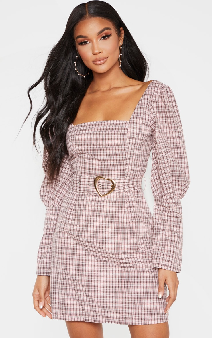 Pink Check Square Neck Puff Sleeve Belted Shift Dress 1