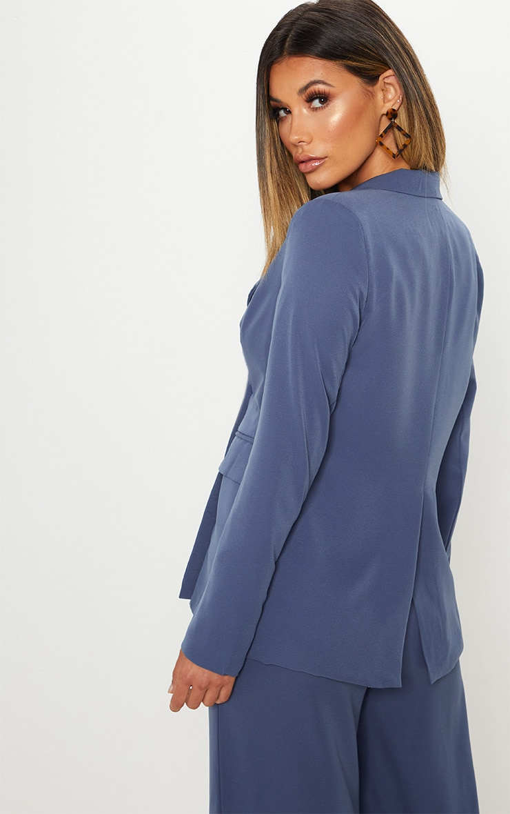Blue Oversized Button Detail Woven Blazer 2